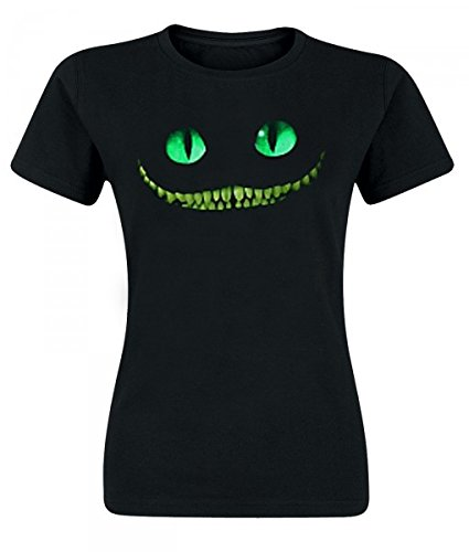 Alice in Wonderland - T-Shirt per ragazze con motivo dello Stregatto - Tratta dal film di Tim Burton - Girocollo sagomata - Nero - L