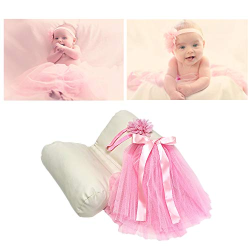 Fotografie-Requisiten-Set für Neugeborene – Schmetterlings-Kissen und Baby-Kostüm für Fotos und Bilder – Ballerina rosa Tutu und Blume Stretch Stirnband – für Fotografen und DIY-Mütter und ()