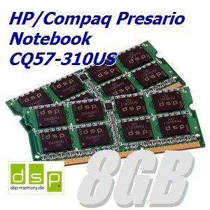 8GB Speicher / RAM für HP/Compaq Presario Notebook CQ57-310US (Set aus 2 Modulen) -