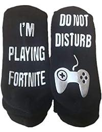 Yaogroo Calcetines de algodón divertidos en el tobillo: No molestar, estoy jugando juegos,