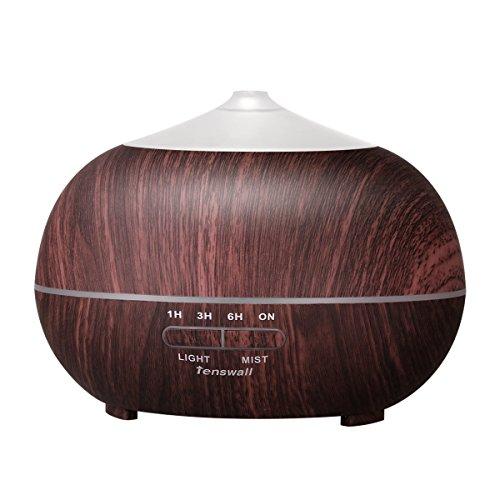 Tenswall 400ml Aroma Diffuser LED Luftbefeuchter Ultraschall Duftzerstäuber Humidifier Essential Oil Diffusor für Babies Kinder Haus Beauty-Salons, Yoga, SPA, das Büro oder Zuhause im Wohnzimmer oder Schlafzimmer