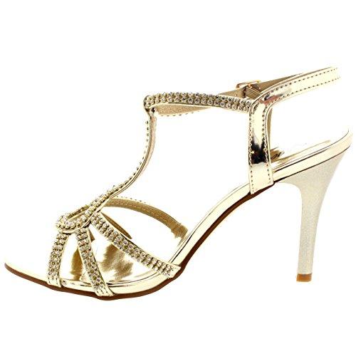 Damen Low Mitte Fersen Sling Back Hochzeit T-Bar Diamant Braut Stiletto Gold