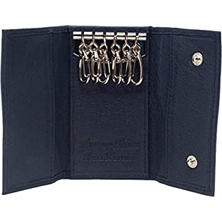 Ashford Ridge Real Leather Key Case Holder Card Wallet in 6 Colours Black Red Tan and Brown (Navy)