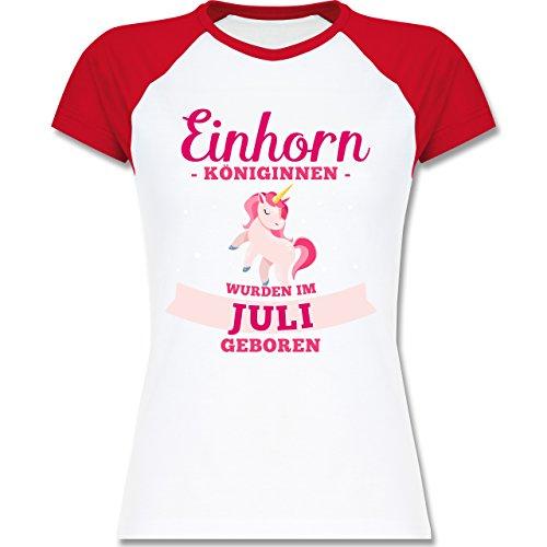 Shirtracer Geburtstag - Einhorn Königinnen Wurden IM Juli Geboren - Zweifarbiges Baseballshirt/Raglan T-Shirt für Damen Weiß/Rot