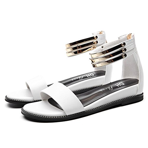 Damen Sommer Runde Offene Zehen Römishce Stil Riemenband Reißverschluss am Rücken Flach Einfache Lässige Sandalen Weiß