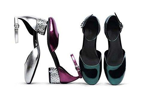 Beauqueen Scarpin lucida in pelle con tacco brillante pompa donne della cinghia della caviglia ragazze di partito piani casuali eleganti scarpe Europa formato 34-39 Purple