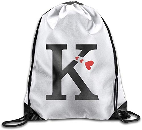 ewtretr Turnbeutel,Rucksäcke Drawstring Gym Bag Sport Backpack Travel Rucksack Capital Letter K with Hearts Personalized Gym Drawstring Bags Travel Backpack Tote School Rucksack Light 4874