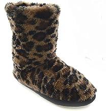 Zapatillas de estar por casa estilo botín de pelo para mujer