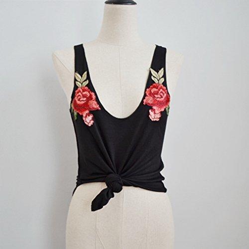 Smile YKK T-shirt Sans Manche Femme Top Crop Fleur Imprimé Clubwear Soirée Casual Plage Mode Noir