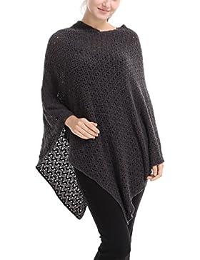 Ferand - Poncho Elegante De Ganchillo De Punto Con Cuello V Oversize Jersey - Mujer