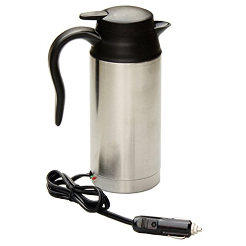 Yihya Eagle-Mouth 24V 750ml Edelstahl Im Auto Electric Cup Thermos Wasser Heizung Boiling Thermosflasche Zigarettenanzünder Flasche Isolations-Cup mit Thermostat Best for Tea Kaffee Milch - Silver (Thermostat Heizung 24v)
