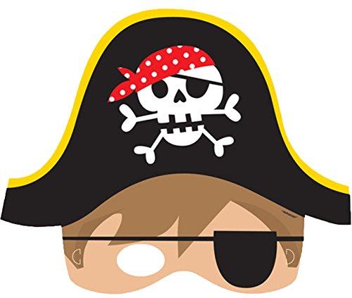 erdbeerclown- Little Pirate Papier Gesichts Maske, 8 Stück , Mehrfarbig