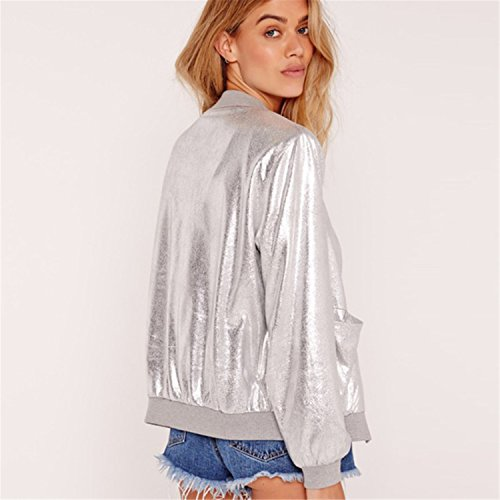 Reißverschluss Vorne Zip Up Shiny Metallic Silber Bomberjacke Blouson Aviator Flight Jacket Jacke Oberteil Top - 3
