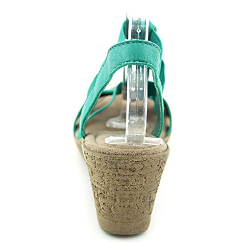 Bella Vita Ravenna Femmes Large Toile Sandales Compensés Emerald-Gore