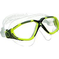 Aqua Sphere - Maschera da nuoto Vista, con lenti trasparenti, colore: Giallo/Grigio, taglia