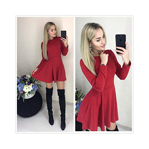 2019 Summer New Casual Women O-Neck Fit and Flare Pockets Long Sleeve Mini Cute A-Line Party Dresses Wine Red Female Vestidos Red S