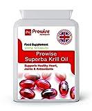 Prowise Superba Aceite de krill 500mg 60 cápsulas - 1000mg por porción - Reino Unido Fabricado - puro de alta calidad puros antárticos Krill rojo Proporcionar una rica fuente de Omega para apoyar la función cardiovascular saludable