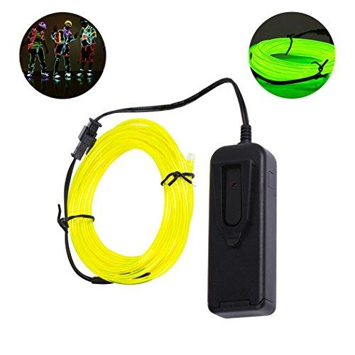 B-right 5m Neon Beleuchtung EL Wire Leuchtschnur EL Kabel Lichtschnur Band Lichtschlauch Lichtband Lichtleiste für Weihnachten, Partys, Halloween Kostüm, Auto Fahrrad beleuchtet flexibles Streifen, Grün