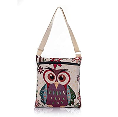 Nawoshow Bohemian Owl / Elephant Embroidered Pattern Shoulder Bag Crossbody Bag Messenger Shopping Bag