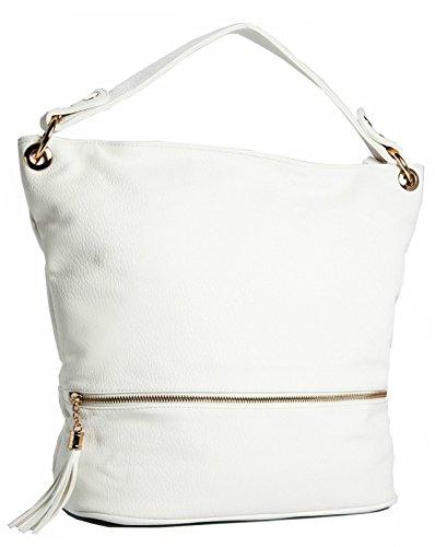 Big Handbag Shop - Borse a spalla donna Bianco (Off - White)