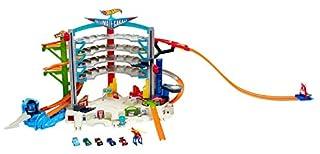 Hot Wheels CMP80 City Megacity Parkgarage, Auto Garage und Parkhaus mit Hai Stunt für 36 Fahrzeuge inkl. 5 Spielzeugautos, ca. 71 cm hoch, ab 5 Jahren (B00T03TR1Q) | Amazon Products