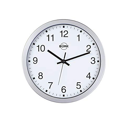 Certeo Horloge Murale en Plastique ABS Coloris Argent, Ø 300 mm - Cadran Blanc - Horloge à Quartz - Horloge Horloge Murale Horloge Murale Radio-pilotée Horloge Radio-pilotée horloges horloges murales