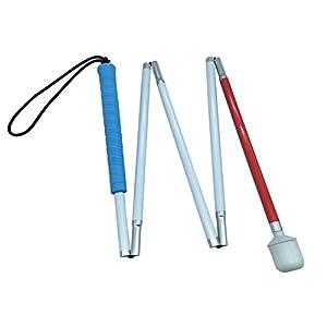 Blindenlangstock,weiße Stock,Faltlangstock mit Kautschukgriff, Kunststoff-Rollspitze,5-teilig, 6 Größen