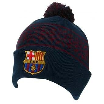 Bonnet de foot ski avec ou sans pompon officiel FC Barcelone Bleu ou Rouge - Bleu