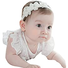 BBsmile diademas bebe niña diademas bebe recien nacidos Perla corona banda para  el pelo elasticas cintas 54149a918ac1