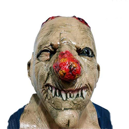 Roten Kostüm Mann Kopf - Horror Rot Große Nase Alter Mann Kopf Maske Parodie Leistung Erwachsenes Spukhaus Trägt Halloween Kostüm Spielen Cosplay Kostüm Dekoration Rollenspiel Requisiten