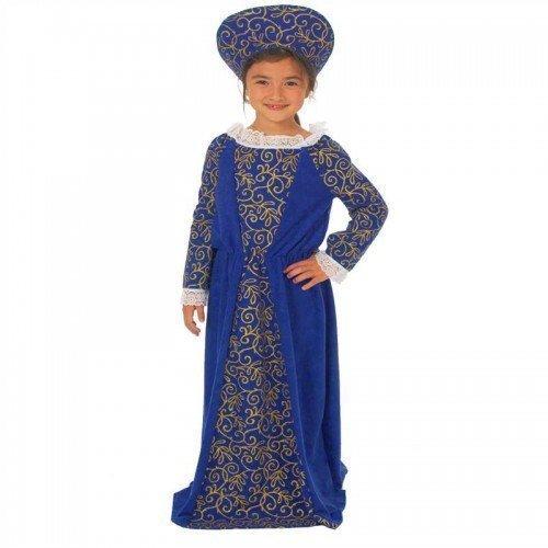 Girl'Child's s, rot oder blau, Frischegefühl Tudor Book Tag Mittelalter Outfit Kostüm (Childs Tudor Kostüme)