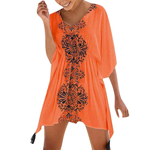 Amphia Damen Cardigan,Frauen Lady Summer Halbarm gedruckt Badeanzug Strand vertuschen Kleid -