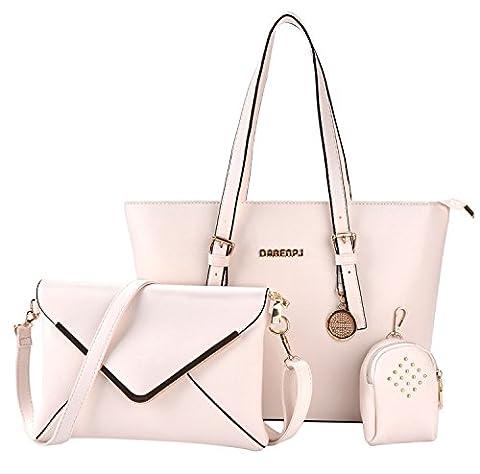 Coofit Handbag Set for Women 3 Pieces Pu Leather Handbag Messenger Bag Purse Bags