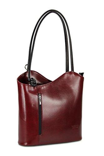 Belli ital. Leder Handtasche Backpack Damen Rucksack aus feinstem Leder in bordeaux schwarz - 28x28x8 cm (B x H x T)