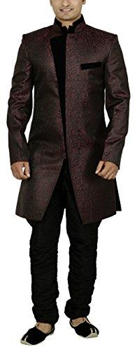 Sargam Nx Men's Suiting Jacard Sherwani (Maroon and Black, 38)