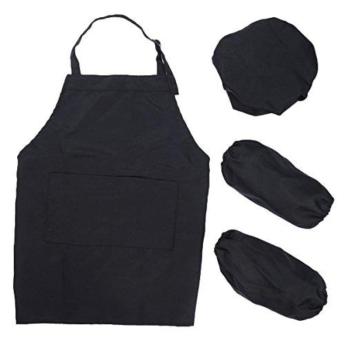 Tininna grembiule camice per bambini con cappello,grembiule e maniche, mezze maniche lunghe per pittura, cucina, scuola, casa. 7-12 anni.(nero)