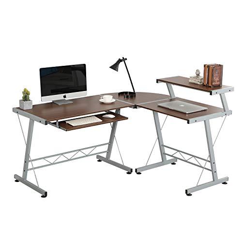 SogesHome L-Form Computertisch Großer Eckschreibtisch Arbeitstisch Bürotisch PC Laptop Studie Tisch Gaming Schreibtisch NSD-DX-402C1-BS -