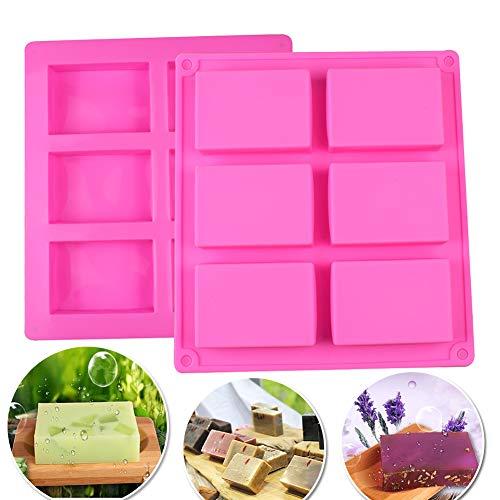 2pack stampi per sapone in silicone 6-cavity torta teglie per pane soap mold rettangolare da forno stampo per cioccolato cheesecake dolci, biscotti, cubetti di ghiaccio, resina mold