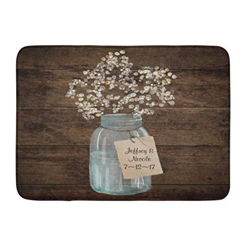 deyhfef Custom Zerbini Rustic Barn Wedding Wood Mason Jar Babys Breath Home Door Mats 15.7
