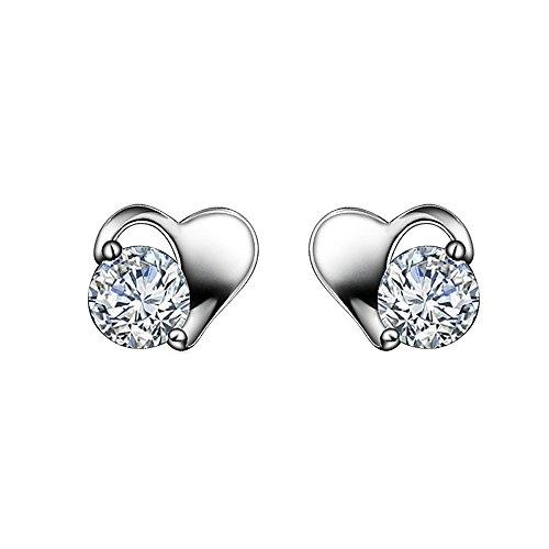 Kangqifen Schmuck Damen Ohrstecker,2 PCS S925 Sterling Silber Diamant Herz Ohrringe Ohrschmuck,0,6 * 0,8 (Cc Chanel Modeschmuck Ohrringe)