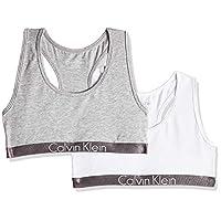 Calvin Klein Girl's Pack of 2 Bralette, Grey (Grey Heather 033), 12-14