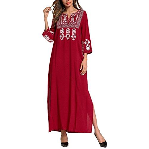 Marokkanische Kleidung Für Frauen (Zhhlaixing Leichte Festive Red 3/4 Ärmel Abaya Kleid Islamische Kleidung Kaftan Bademäntel für Frauen Sommer)