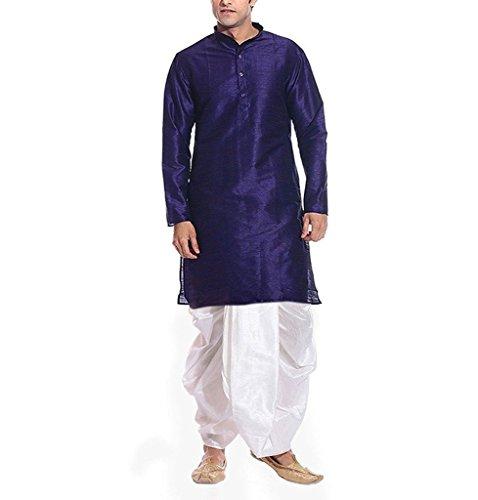Royal Kurta Men's Blue Silk Blend Festive Dhoti Kurta Set
