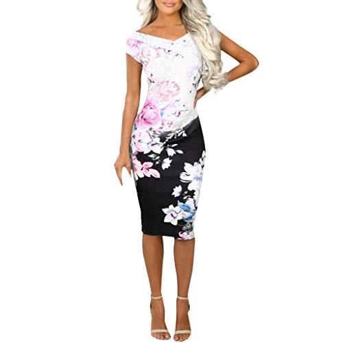 BOLANQ Sommerkleid Spitze Kleid Damen Cocktailkleid Festlich Partykleid A Linie Ärmellos Knielang - Chunky Wolle Pullover