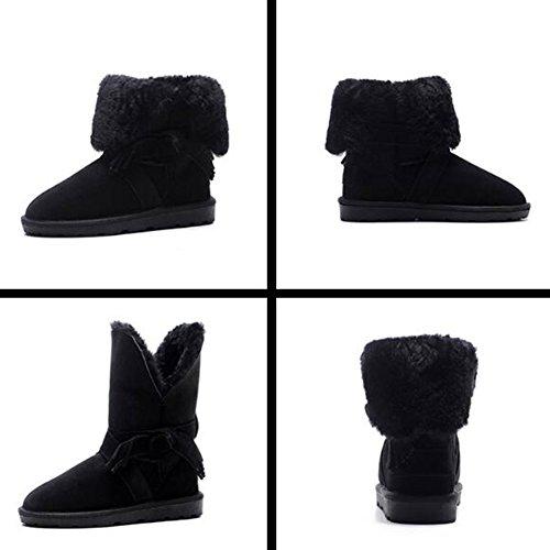 Pengfei Bottines Bottes De Neige Ballet Chaussures Hiver Keep Warm Tassel, Mesdames 2 Couleurs En Option (couleur: Noir, Dimensions: Eu38 / Uk5.5 / L: 240mm) Noir