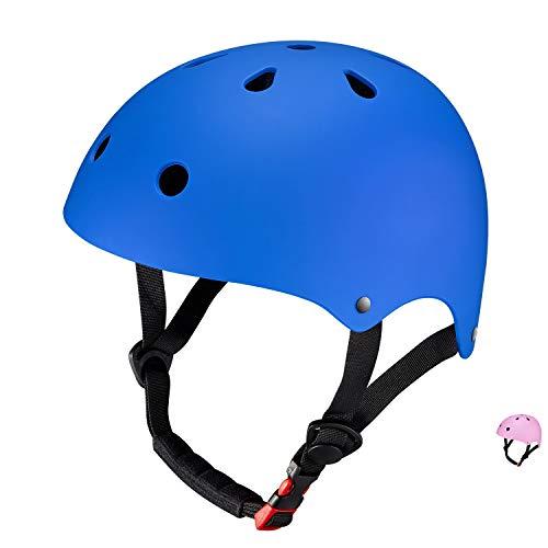SKL Sport Helmet, Matt Colorful Kids Helmet Ciclismo Casco ABS Shell para Skateboard/Ski/Skating/Roller Protective Gear (49-55cm, Medio) (Negro)