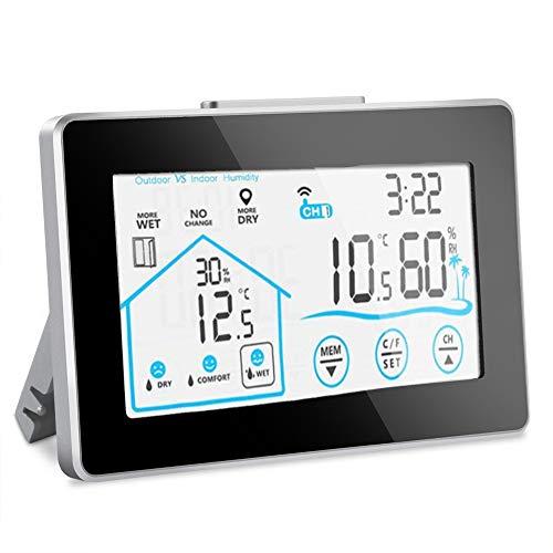 Nasharia Wetterstation Funk mit Außensensor, Große Digtal LCD-Anzeige Thermometer Hygrometer batteriebetrieben Weiße Hintergrundbeleuchtung Innen und Außen luftüberwachungs Thermometer und Hygrometer