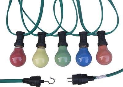 Illu-Lichterkette 30m/30 Fassungen E27 inkl. farbiger Glühlampen (rot, gelb, grün, blau und orange) von Simons auf Lampenhans.de