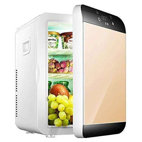 ZGHOME Home Mini Kühlschrank 20L Auto Dual-Use Kühlschrank Kühler wärmer Digitale Temperaturregelung Single Door Electronic Mini Gefrierschrank,Gold -