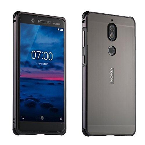 HUDDU Kompatibel mit Hülle Nokia 6 2018 6.1 Aluminum Handyhülle Ultra Dünn Überzug Metal Mirror Back Case Cover Matt Schutzhülle 2 in 1 Slim Spiegelnd Bumper Spiegelnder Etui Handyschale - Schwarz